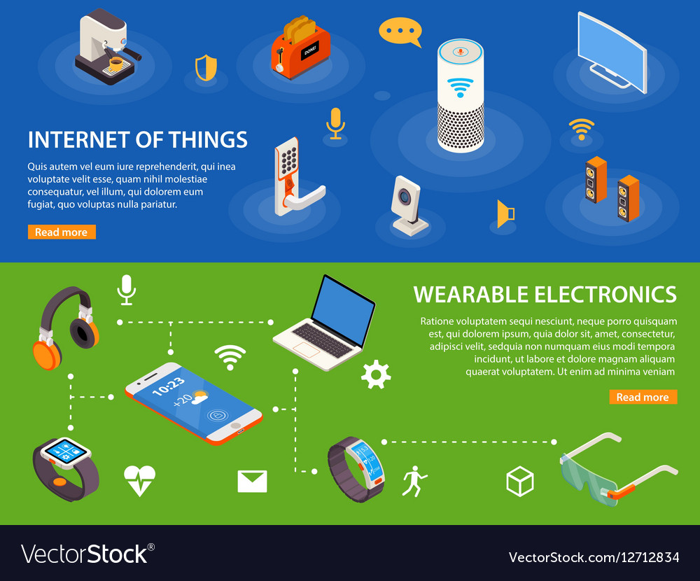 Internet Of Things 2 Isometric Banners vector image