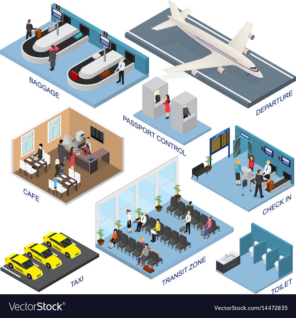 Airport zone set isometric view vector image