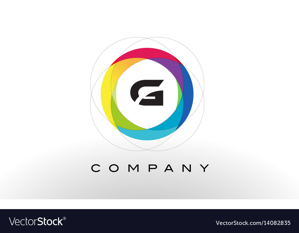 G letter logo with rainbow circle design vector image