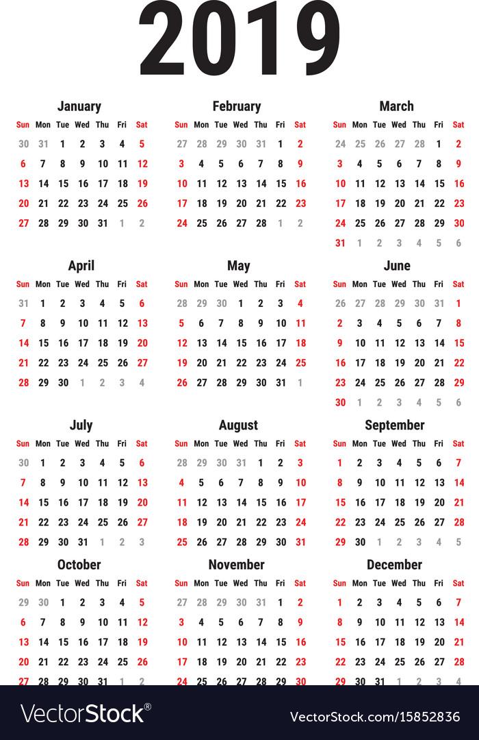 Calendar of 2019 vector image