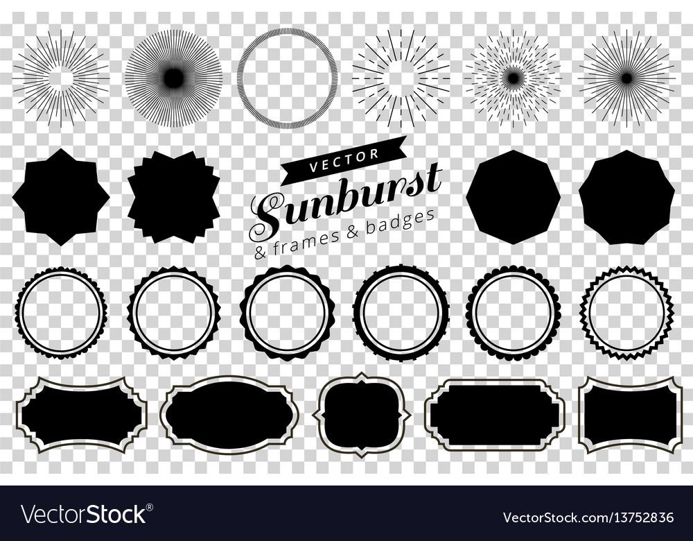 Collection of hand drawn retro sunburst bursting vector image