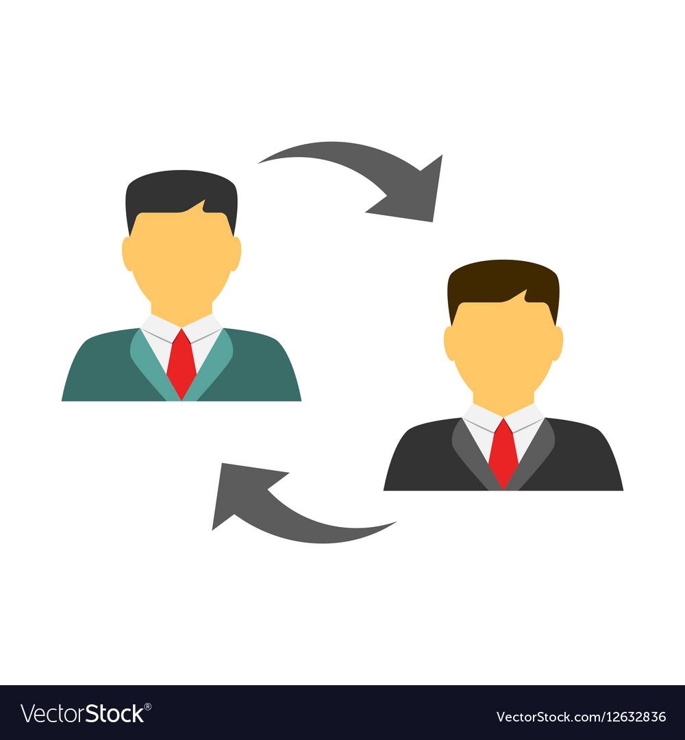 Men exchanging flat icon vector image