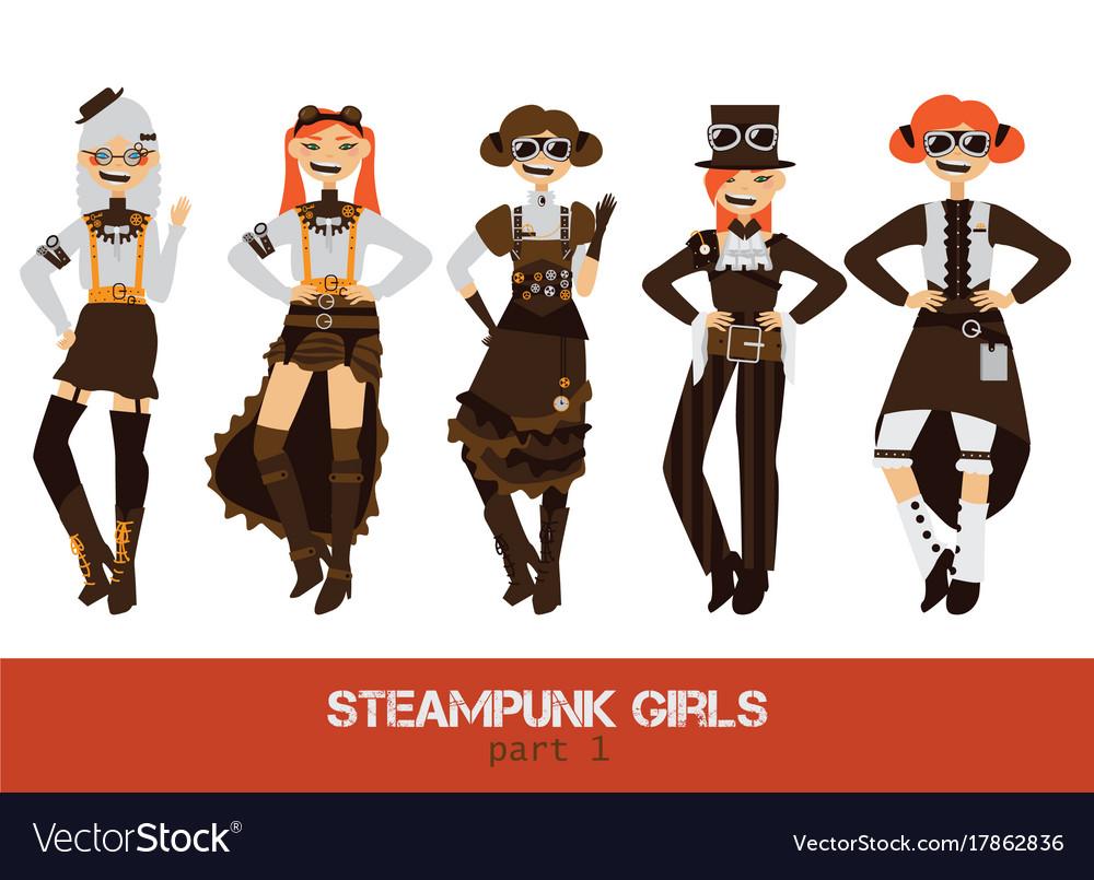 Set with steampunk man cartoon flat vector image