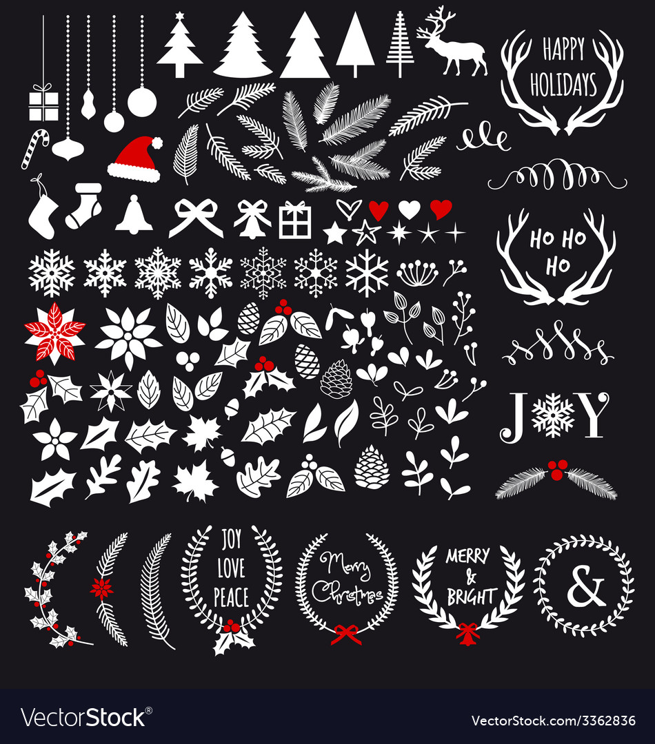 White Christmas design elements vector image