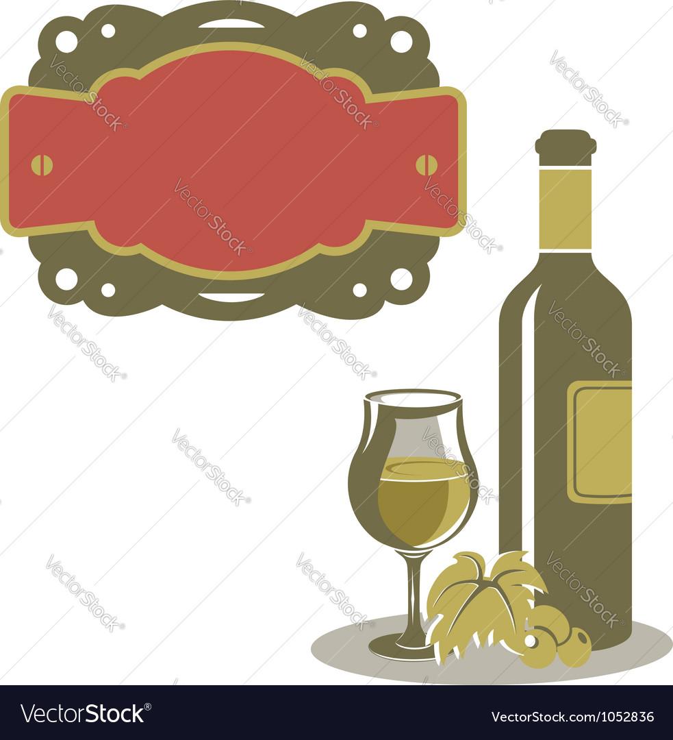 White wine menu icon vector image
