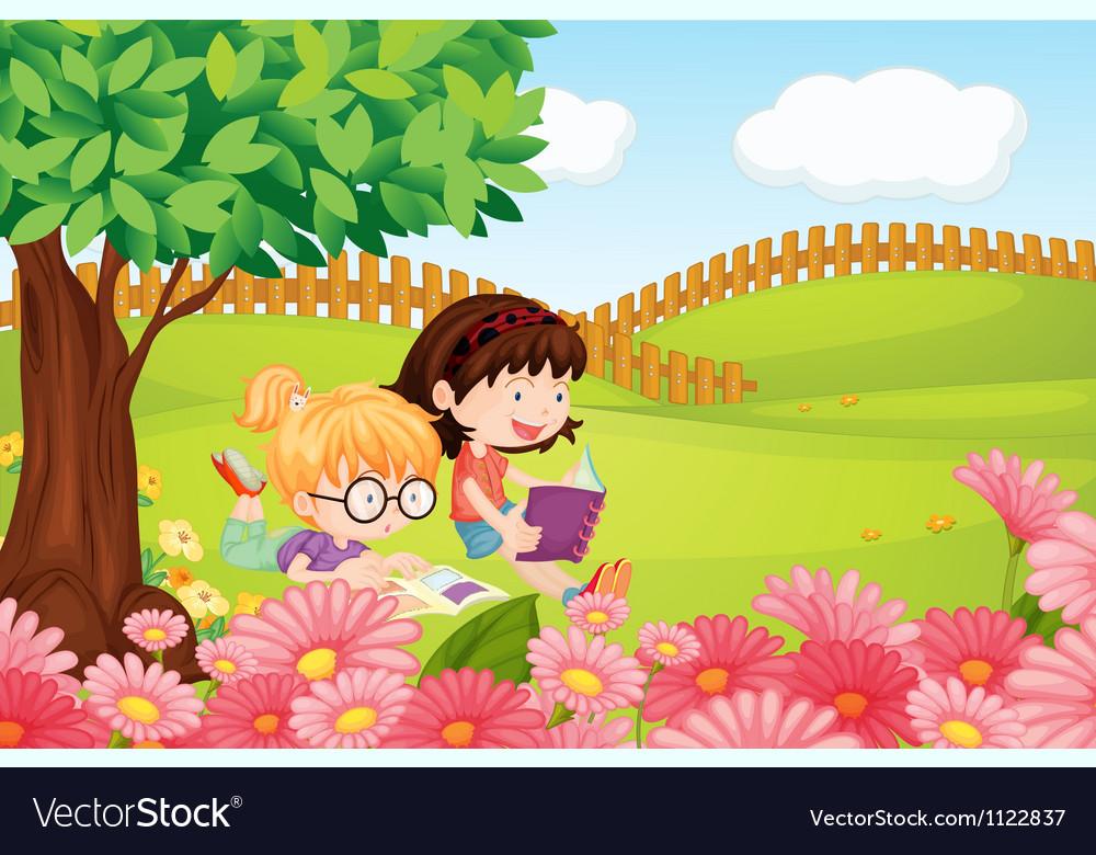 Girls reading books vector image