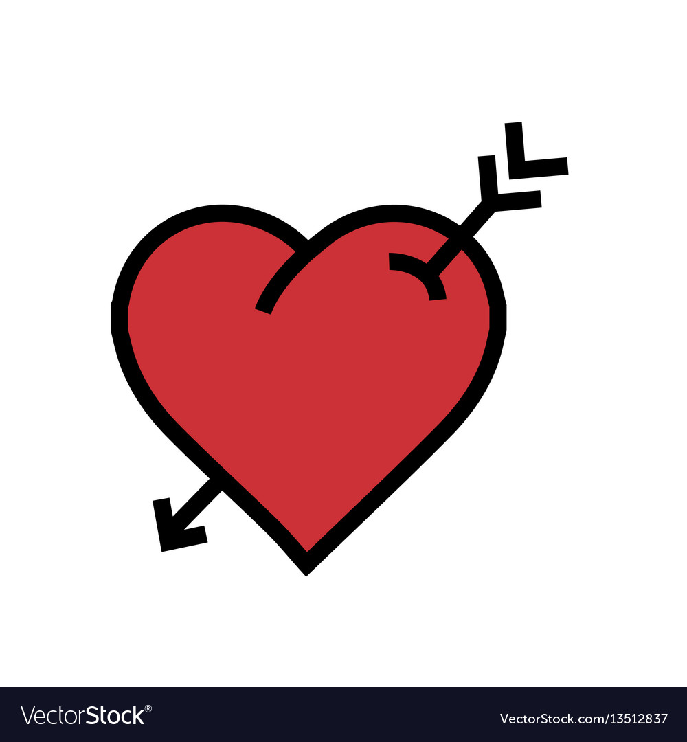 Heart arrow icon red color vector image