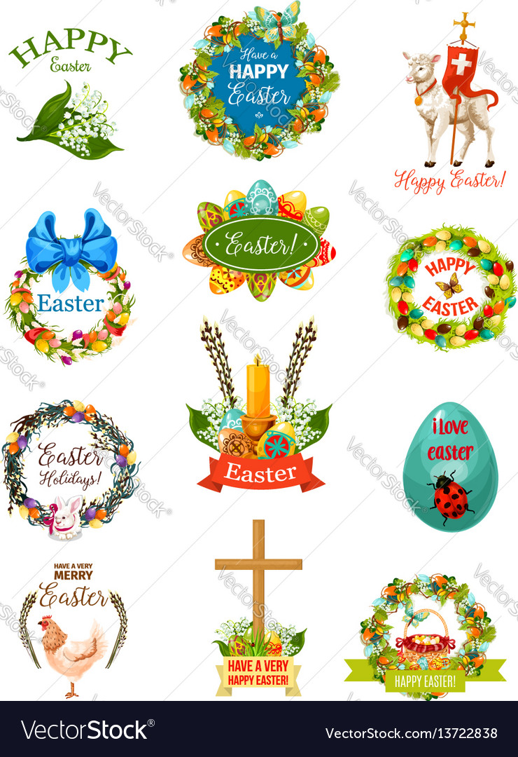 Easter cartoon label and badge set design vector image