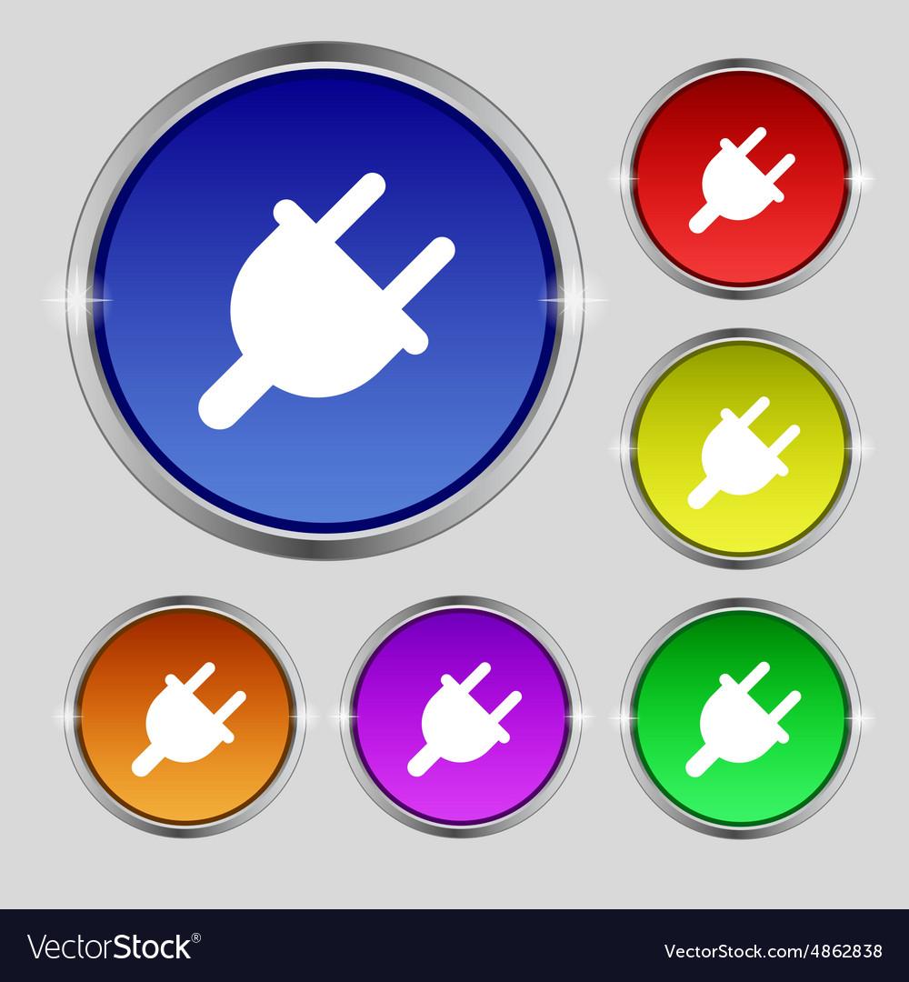 Electric plug power energy icon sign round symbol vector image biocorpaavc Choice Image