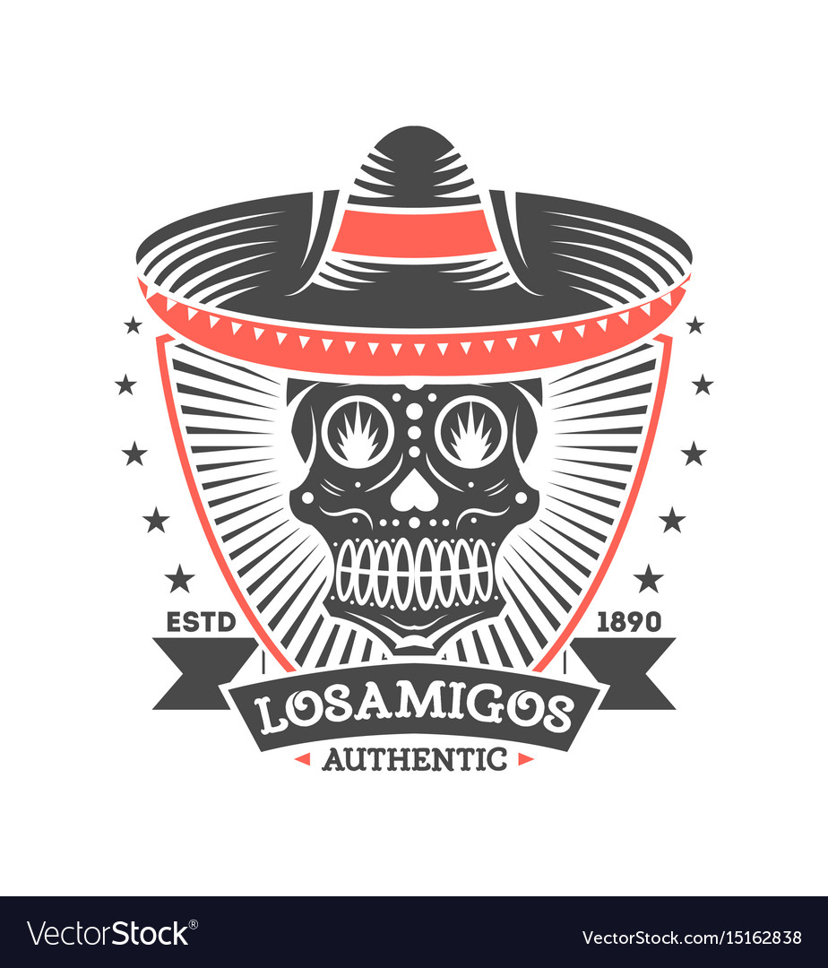 Los amigos vintage isolated label with skull vector image