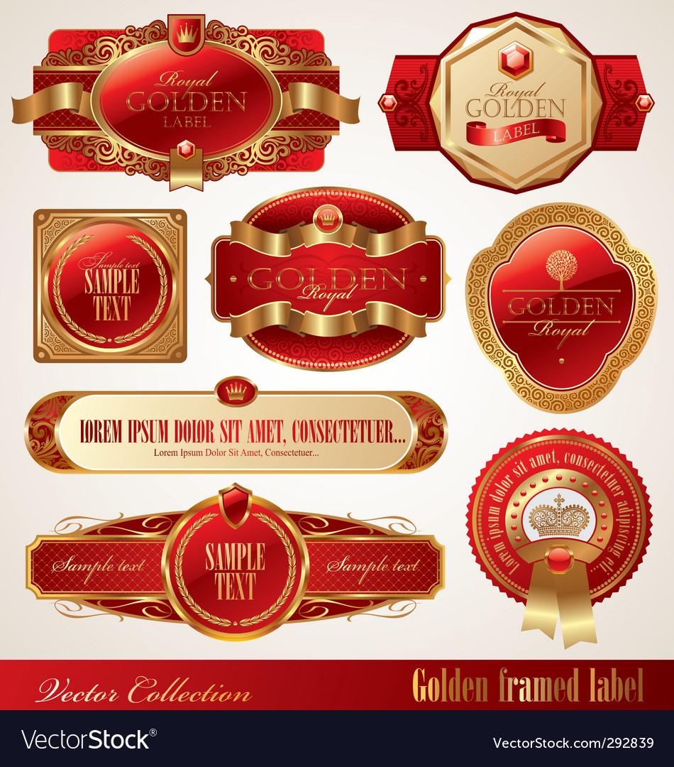 Golden ornate frames vector image