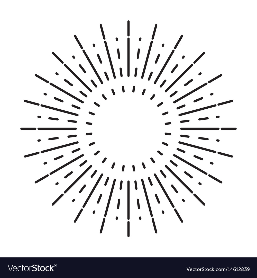 Linear drawing of vintage sunbursts or light rays Vector Image for Vector Light Rays Vintage  55jwn