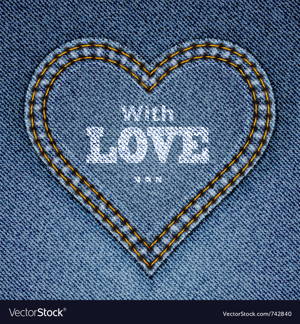 Blue jeans heart vector image