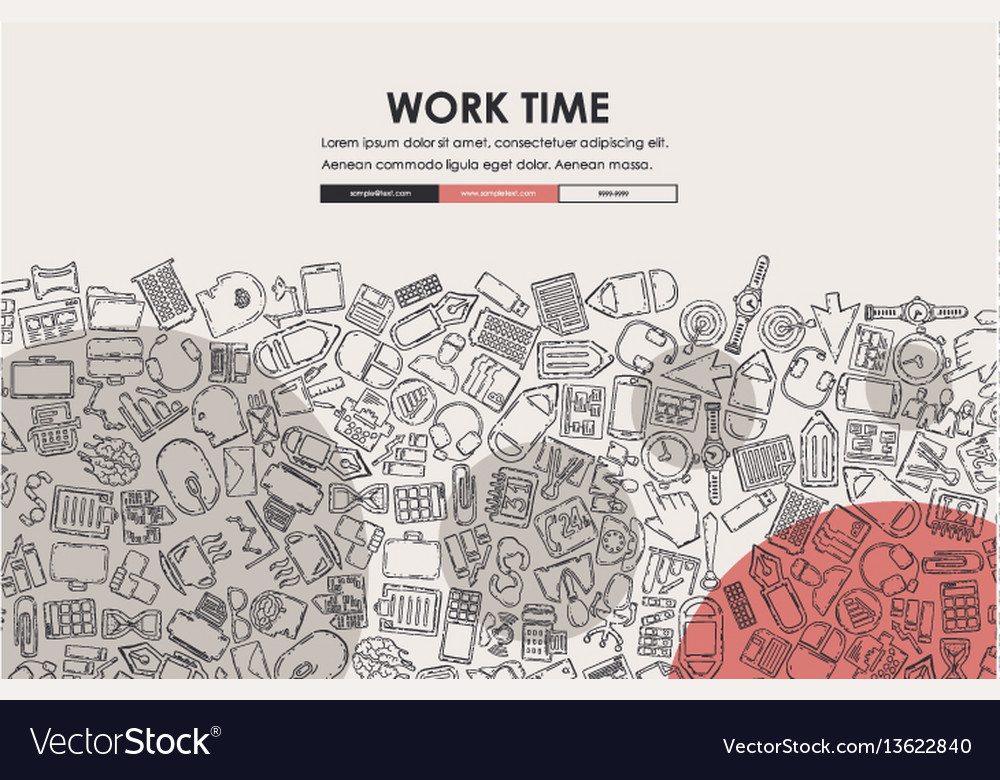 Office doodle website template design vector image
