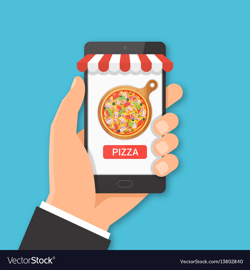 Online pizza ordering concept vector image