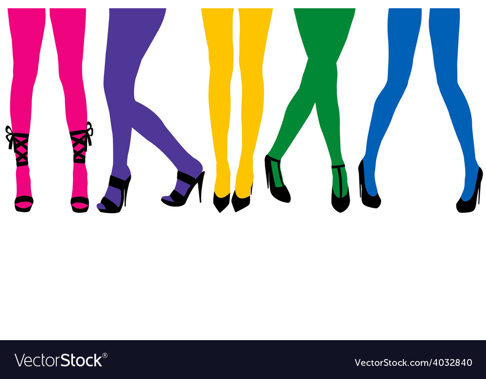 Women sexy legs with colored stocking vector image