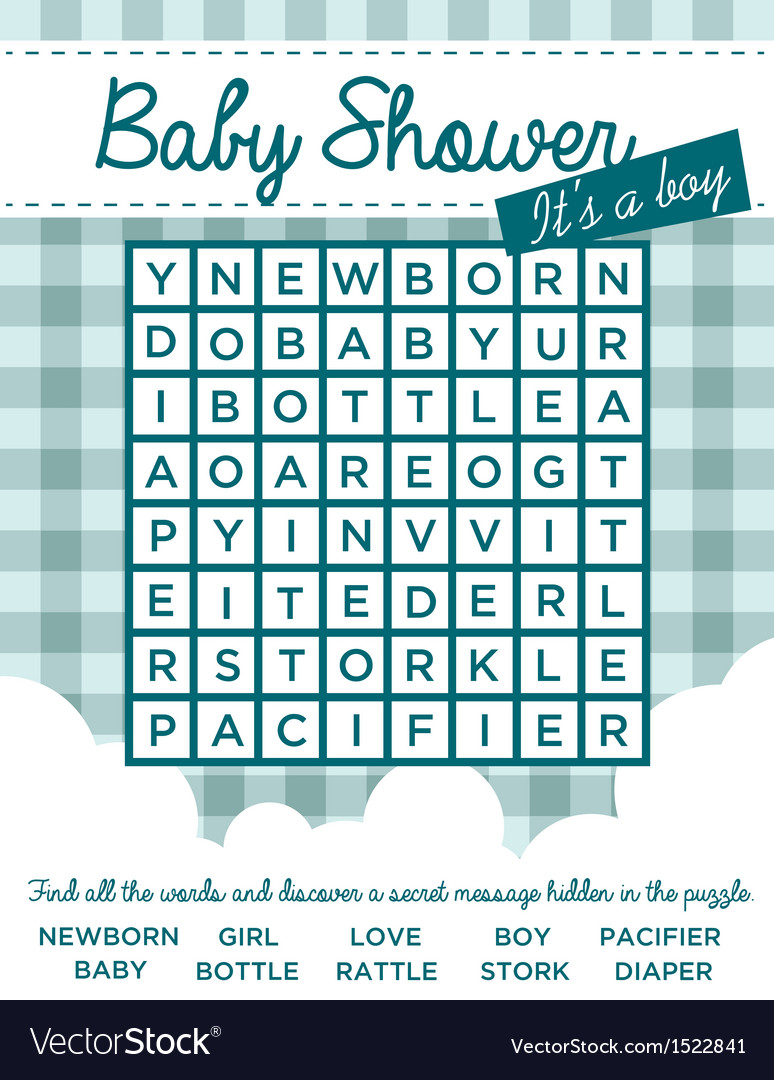 Baby boy shower invitation with word puzzle vector image baby boy shower invitation with word puzzle vector image stopboris Images