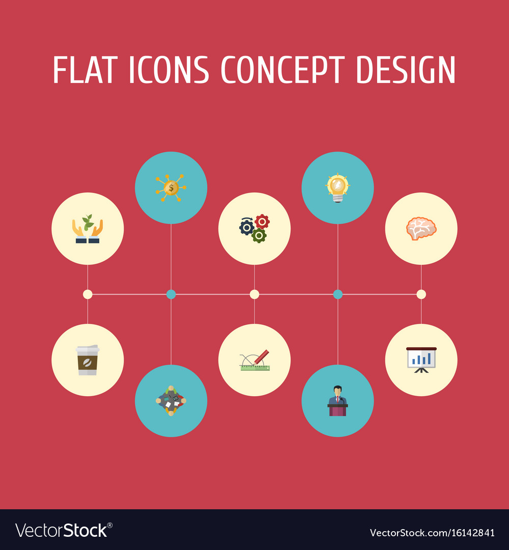 Flat icons mind help show and other vector image