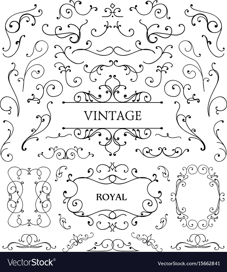 Set of vintage swirls frames vector image
