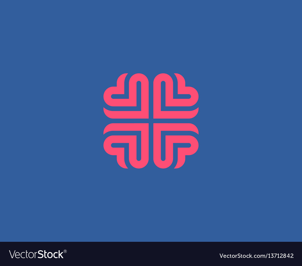 Brain heart logo design education medical vector image