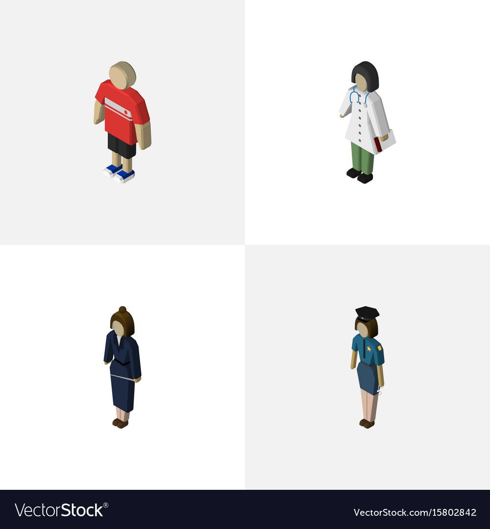 Isometric person set of guy businesswoman vector image
