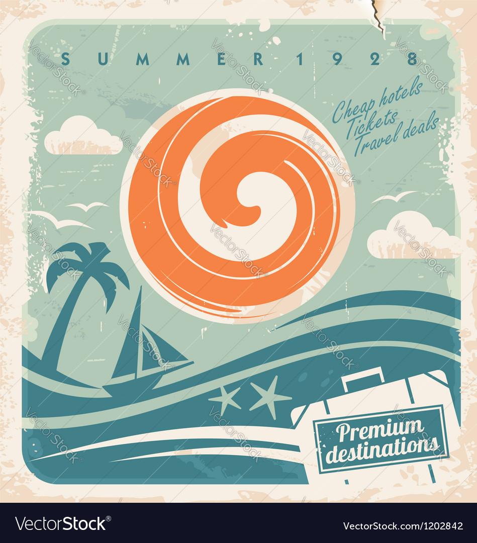 Vintage travel poster vector image