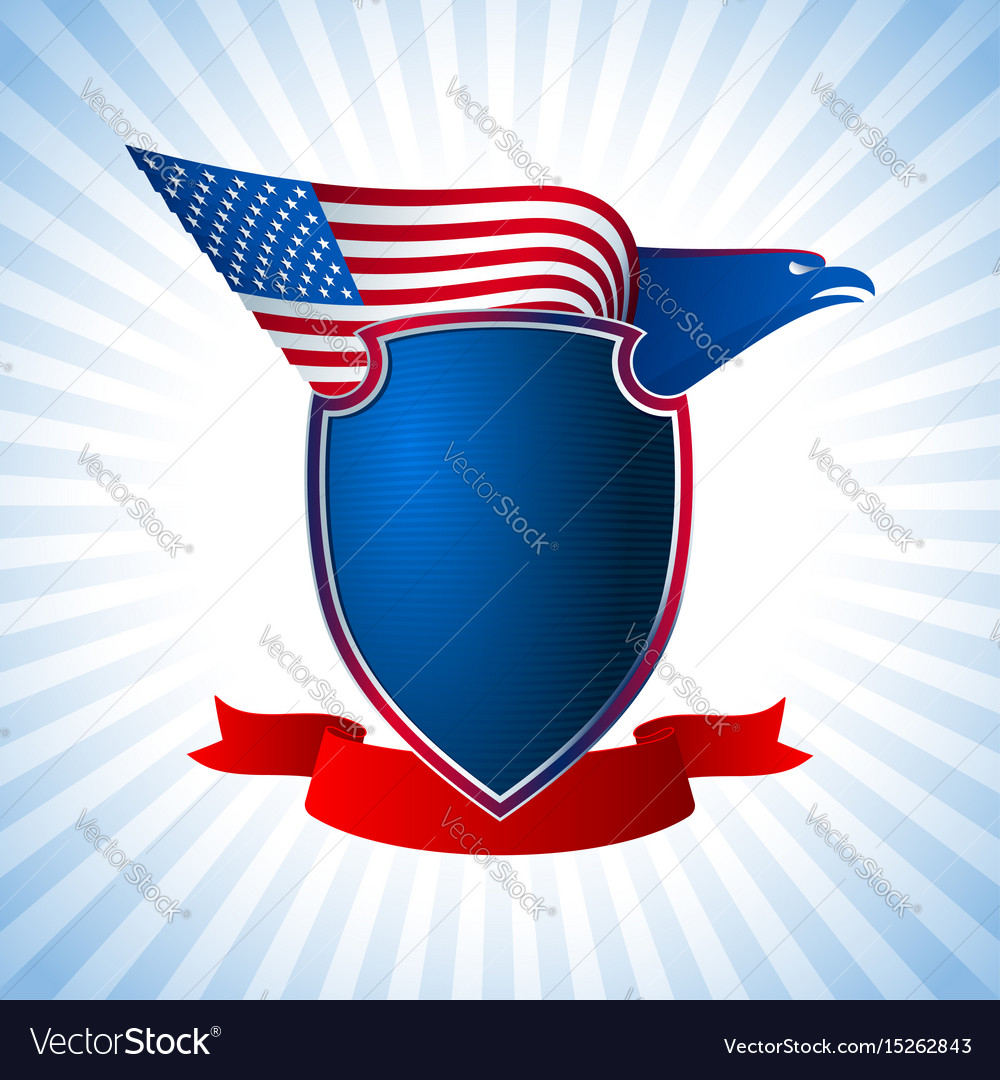 Eagle us shield flag wing flying background blue vector image