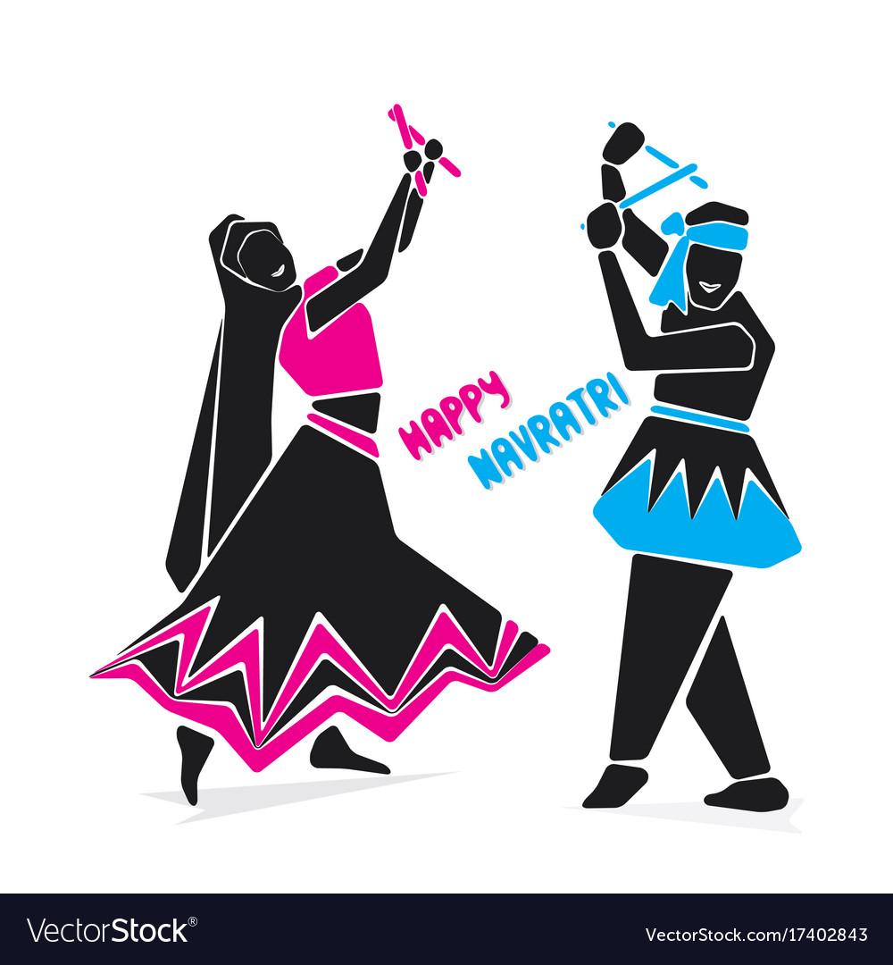 Happy navratri festive poster vector image