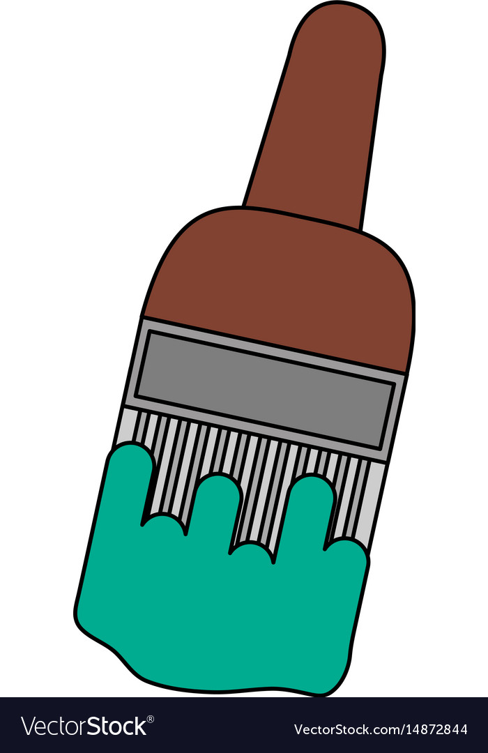 Color image cartoon paintbrush with color green vector image