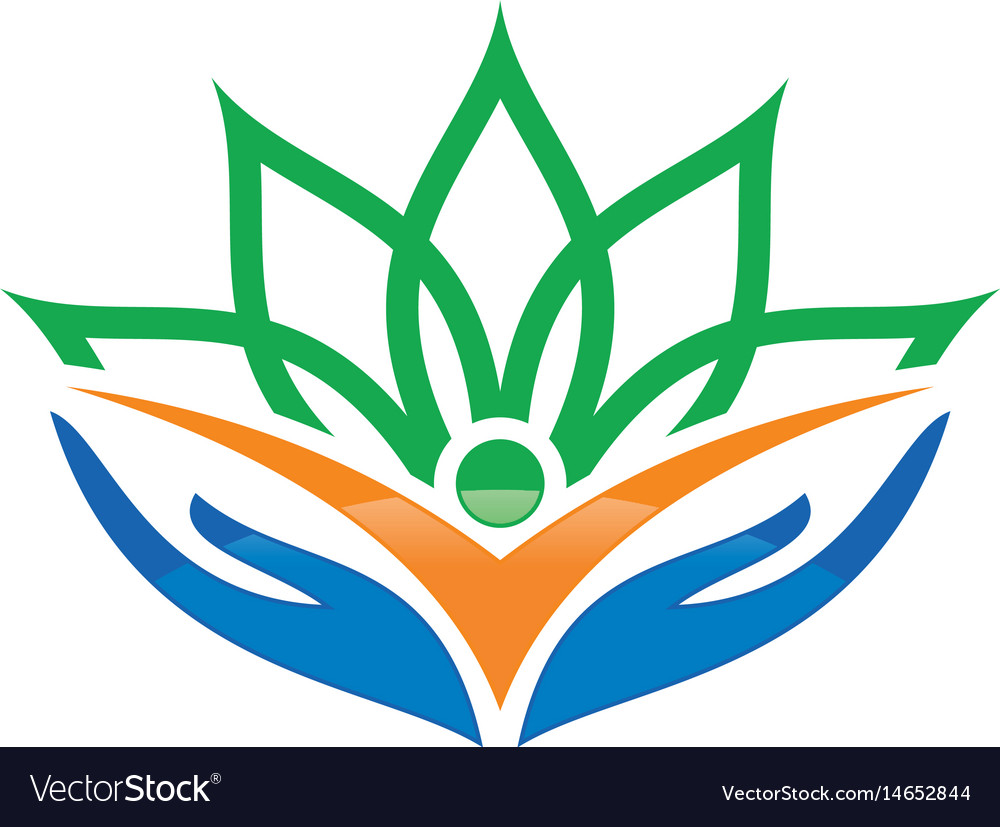 Human hand flower logo image vector image