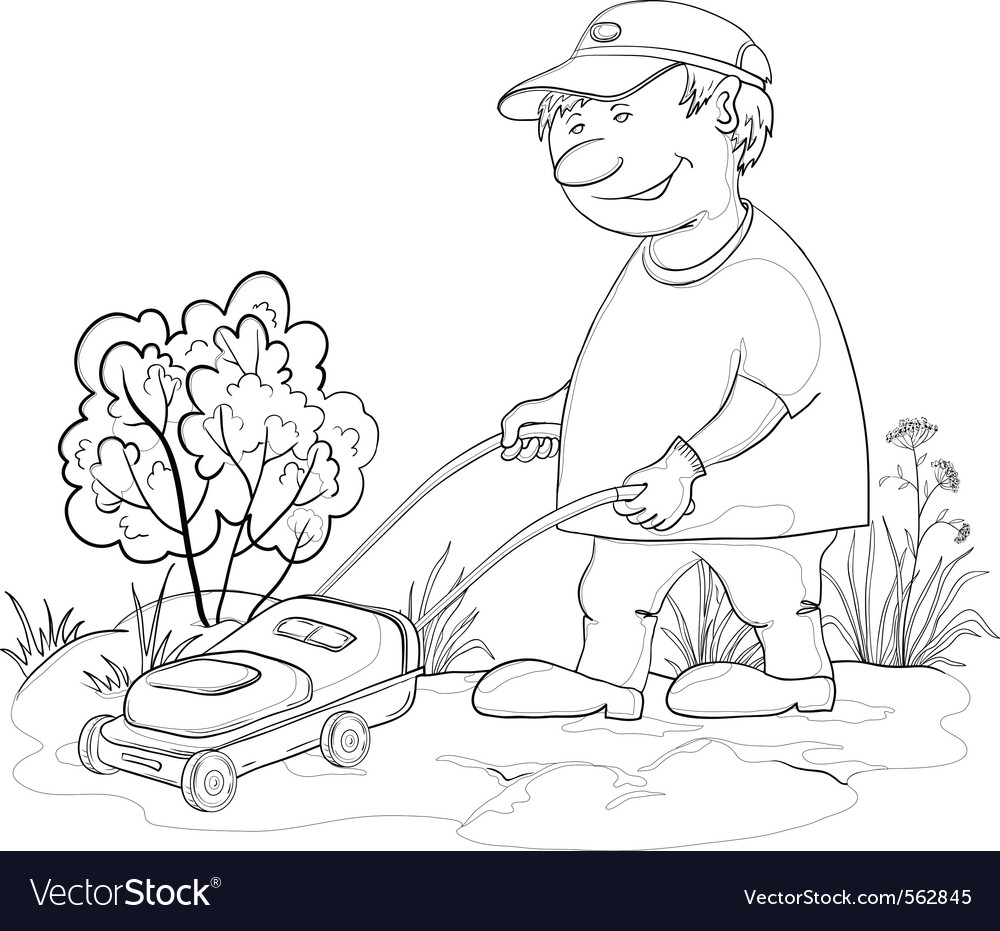 lawn mower man outline royalty free vector image