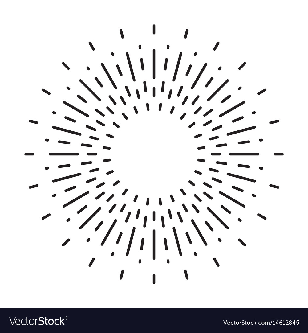 Linear drawing of vintage sunbursts or light rays Vector Image for Vector Light Rays Vintage  67qdu