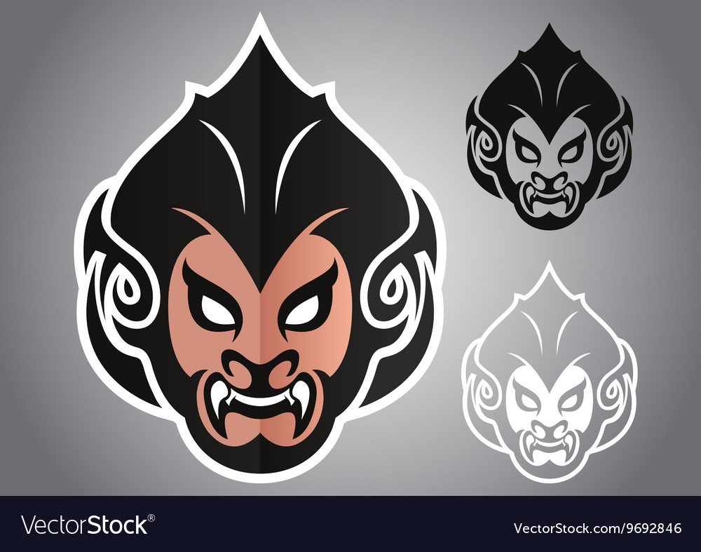 Monkey head thai logo emblem vector image