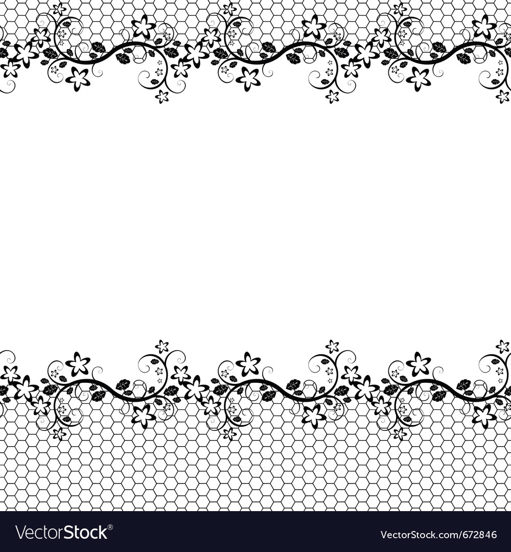 Black lace on white background seamless background vector image