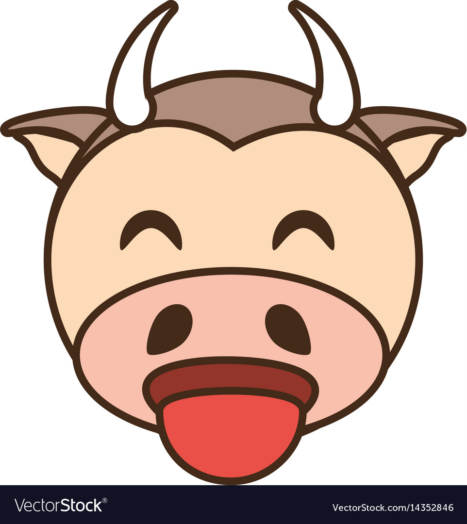 Cute cow face kawaii style vector image