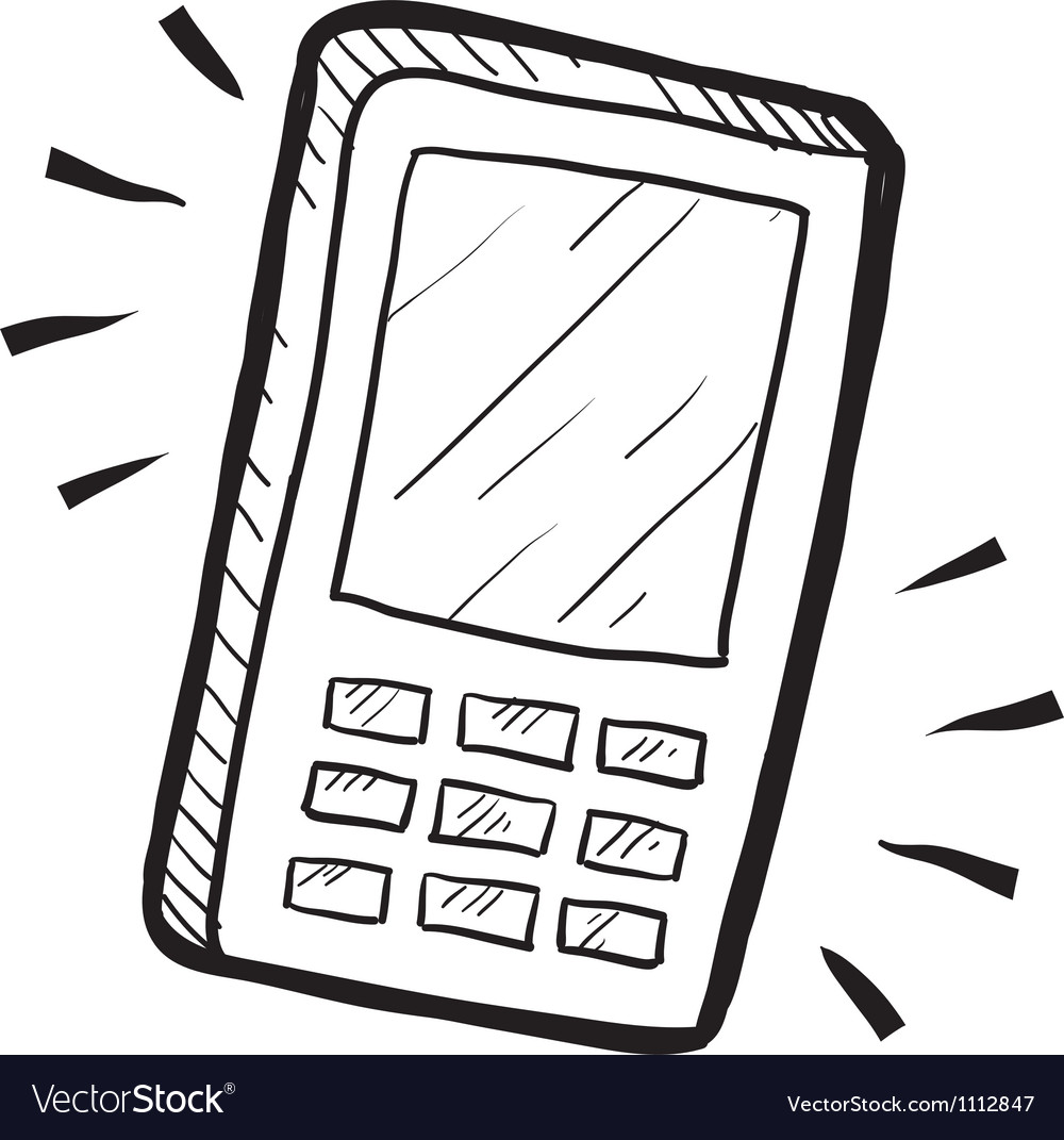 Doodle cell phone call vector image