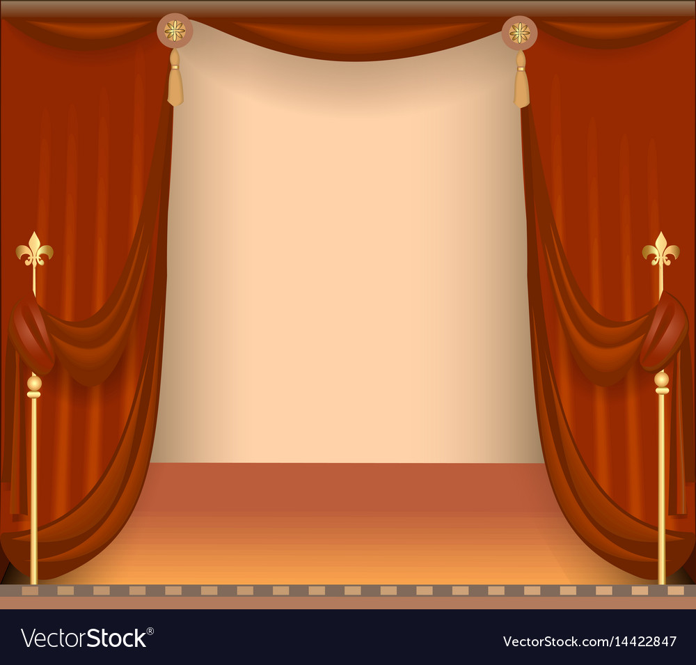 Background with theatre stage with red curtains vector image