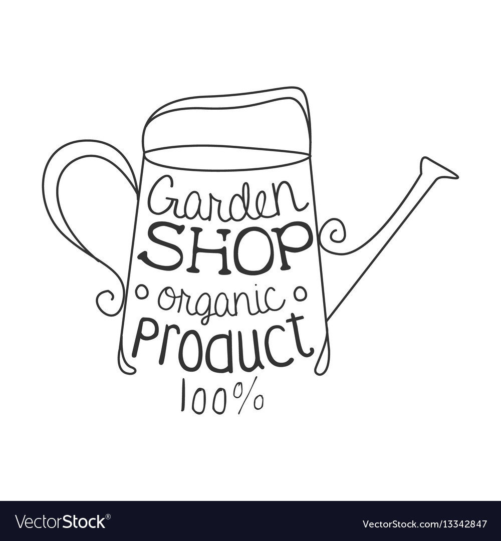 Garden shop 100 percent organic product black and vector image