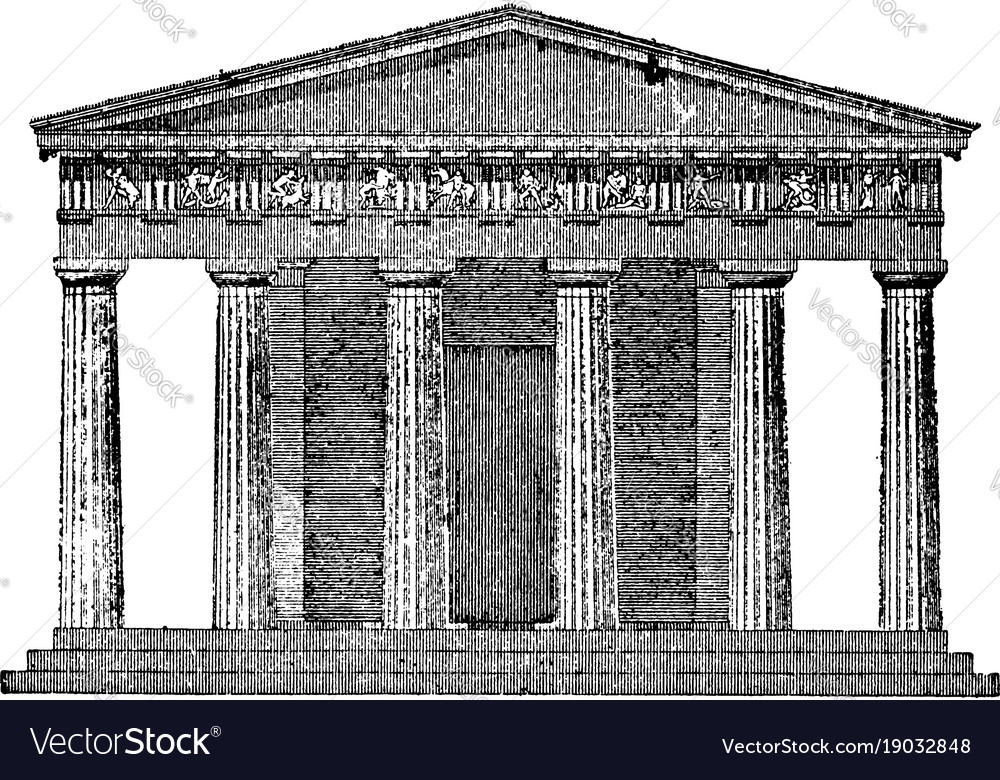 Front Elevation Antique : Doric temple the front elevation vintage engraving