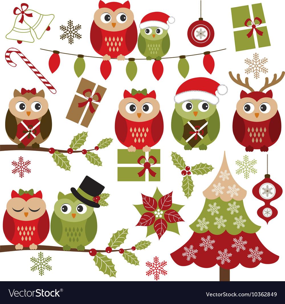 Christmas Owls vector image