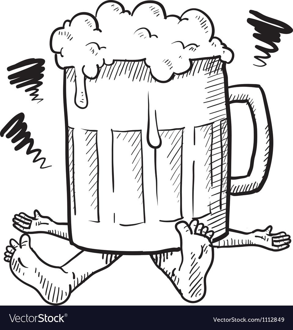 Doodle squash beer mug vector image