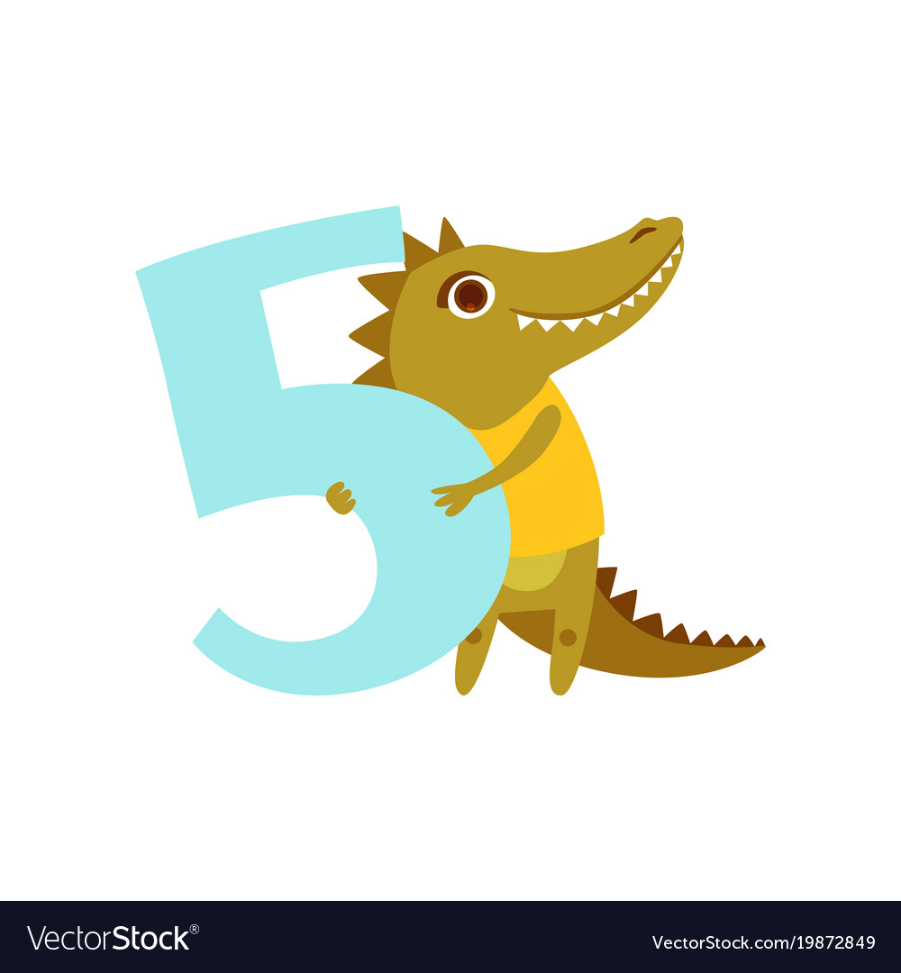 Funny cute croc animal and number five birthday vector image
