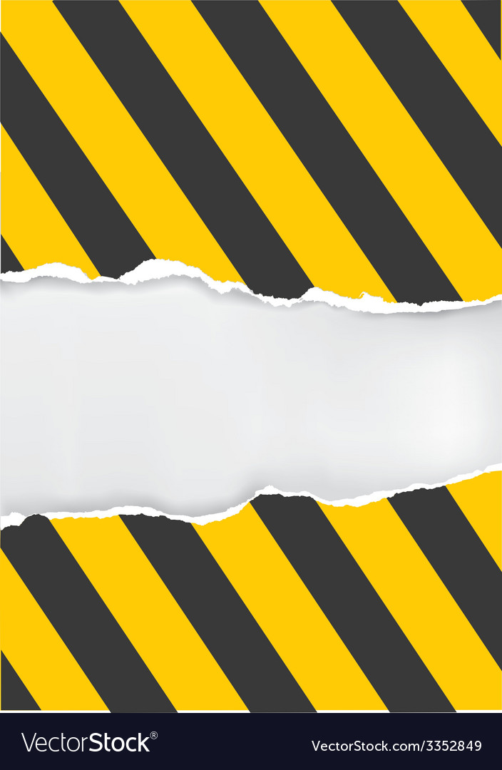Ripped paper with construction sign vector image