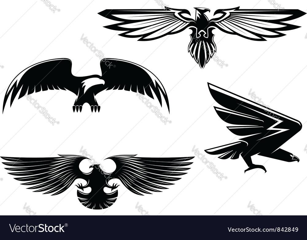 Set of heraldry eagles vector image