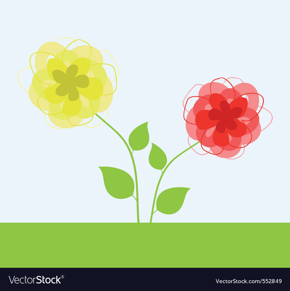 Yellow and red flower a vector illustration vector image