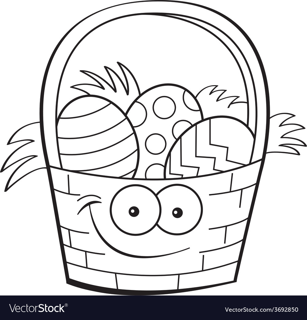 Cartoon Easter basket vector image