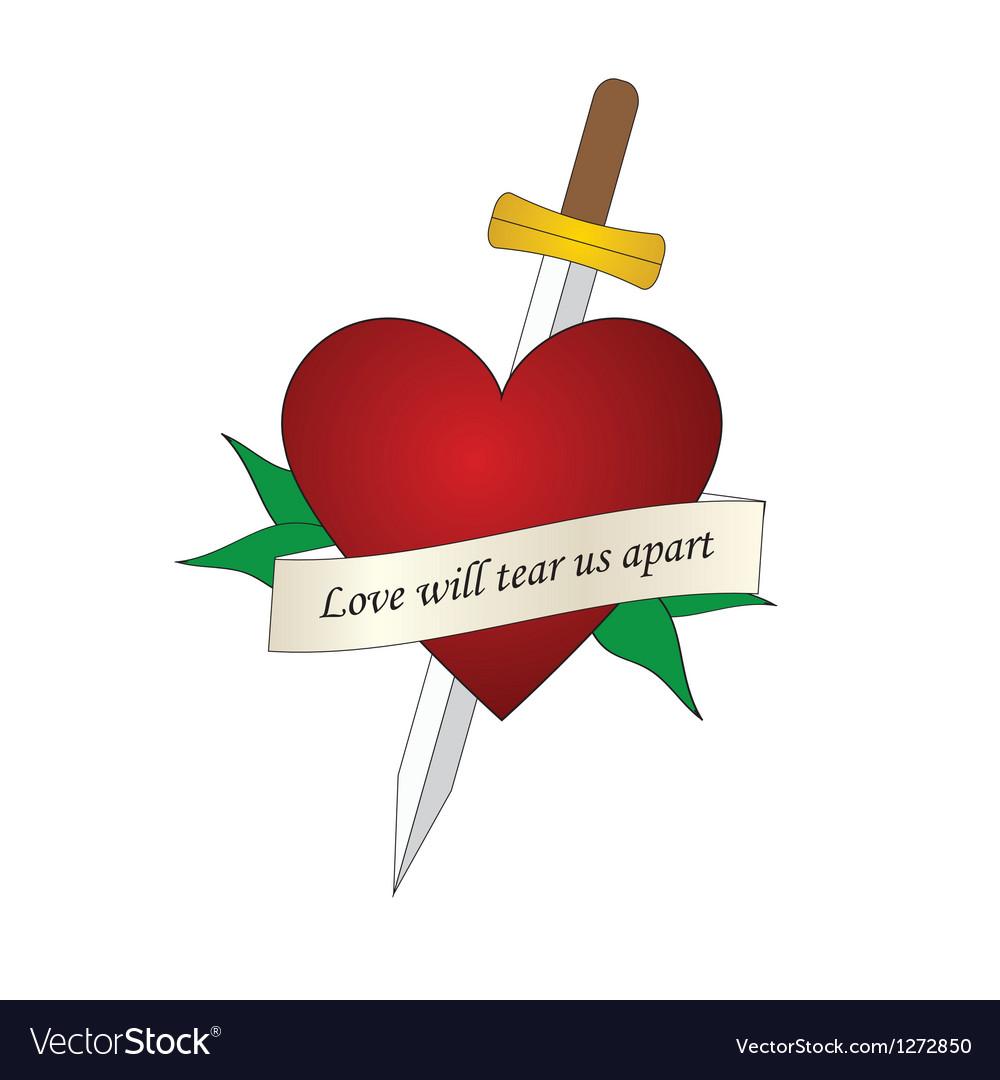 Sword heart tattoo vector image