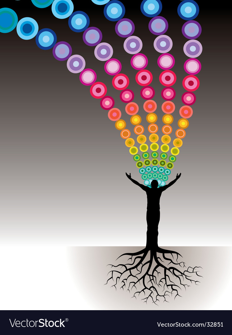 Tree man roots dots vector image