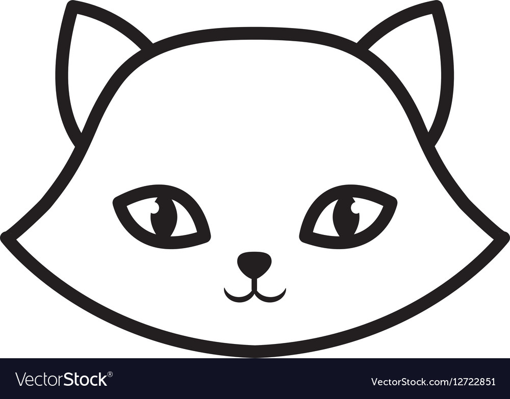 Face cat breed animal mammal outline vector image