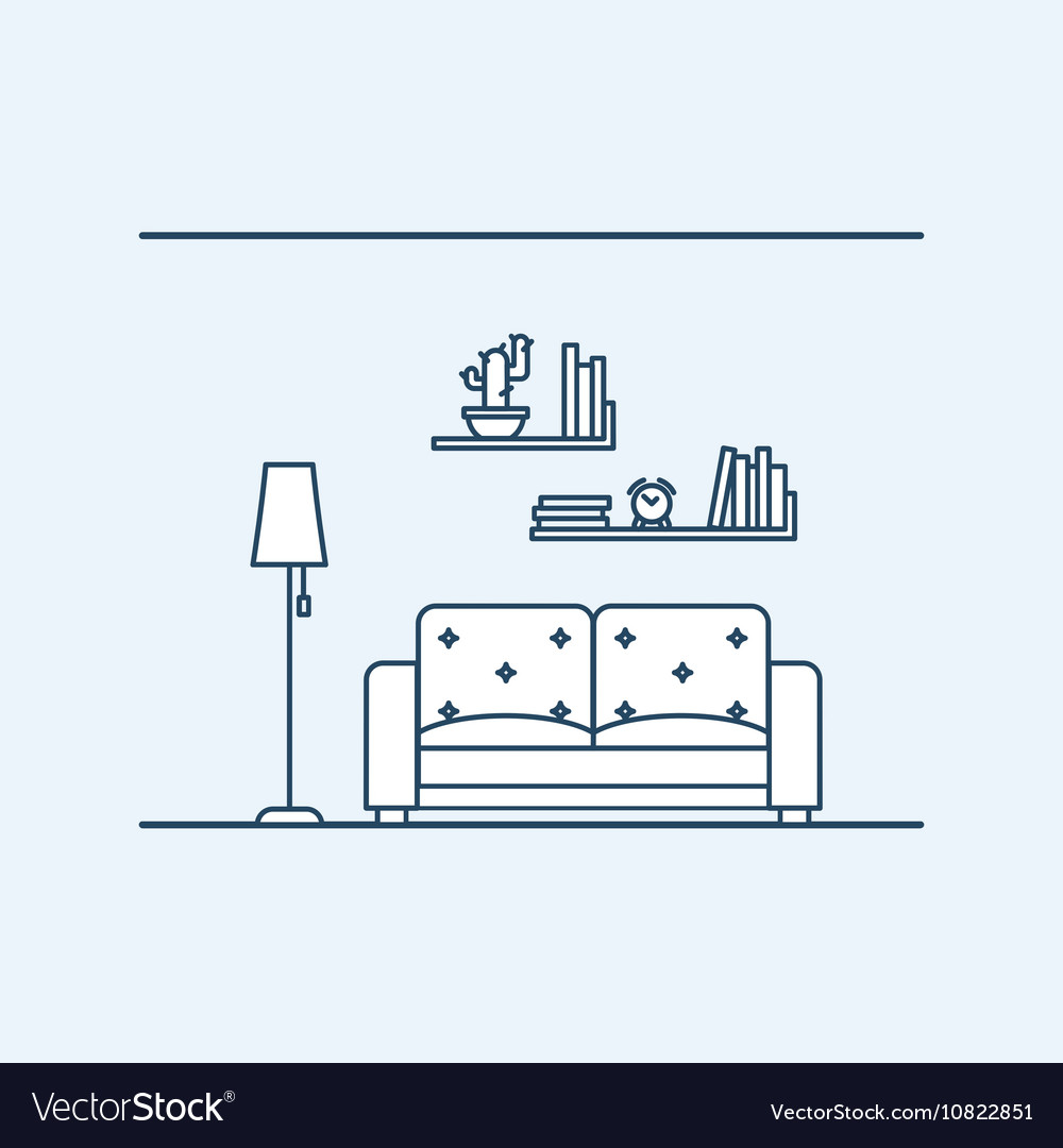 Modern interior design of living in an apartment vector image